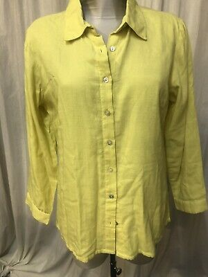 £5.99 • Buy Adini Size L Double Voile Shirt In Ochre Greeny Yellow