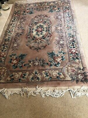 £32 • Buy Large Chinese Rug ... Pure Wool 6 Foot X 4 Foot Floral Pinks.