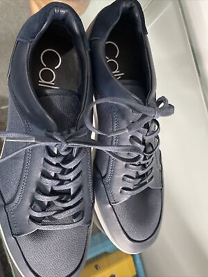 £9.99 • Buy Calvin Klein Lace Up Camvas And Leather Blue Mens Casual Shoes Size 9