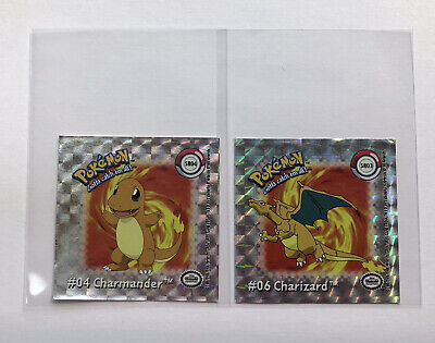 $12 • Buy 1999 Charizard 06 And Charmander 04 Pokemon Action Flipz Holo Stickers Preowned