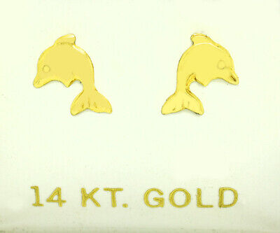 £1.65 • Buy Dolphin Earrings Solid 14k Yellow Gold ** Made In Usa **