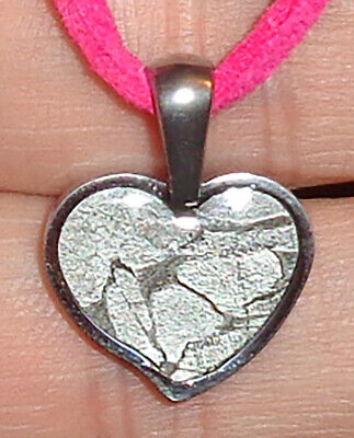 £20.36 • Buy Give Her The Stars! Heart Shaped Seymchan Meteor In A Stainless Pendant Necklace