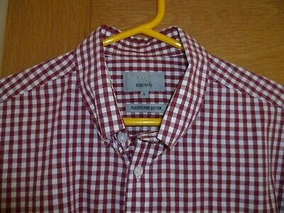 £12.99 • Buy Mens M & S  Size L - 16.5   Red And White Check Peached Pure Cotton Shirt