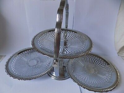 £24 • Buy VTG DECO Chrome Plated 3 Tier Folding Cake Stand Sandwich Afternoon Tea. ENGLAND