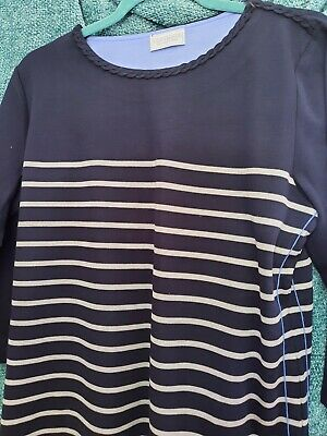 £5 • Buy Cotswold Collection Navy Stripe 3/4 Sleeve Top, Size L, New In Packaging