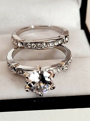 £3.99 • Buy 18k White Gold Plated Simulated Diamond Double Ring Set Size R New