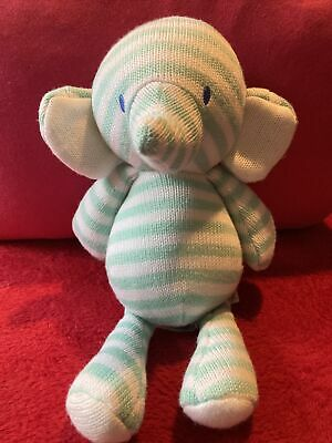 £10 • Buy Mothercare Green Elephant Soft Toy Stripe Comforter Knitted Doudou