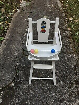 £29.99 • Buy Vintage Retro Mickey Mouse Donald Duck Solid Wood Childs High Chair Folding Tray