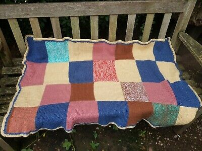 £12 • Buy Sweet Vintage Hand Knit Patchwork Wool Granny Picnic  Blanet  52 X 36 Inch