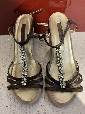 £6 • Buy Ladies Next Sole Reviver Brown Jewelled Sandals With Wedge Heels Size 6