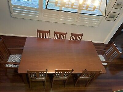 AU148 • Buy Newly Restored 8 Seater Dining Table And 8 X Newly Covered Chairs