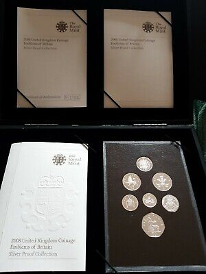 £69.50 • Buy 2008 UK Royal Mint Emblems Of Britain Sterling Silver Proof 7-Coin Year Box Set