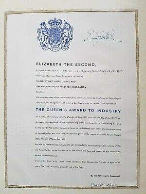 £77.77 • Buy Queens Award To Industry Cert.Signed By Queen/Harold Wilson. McCleery And L'Aime