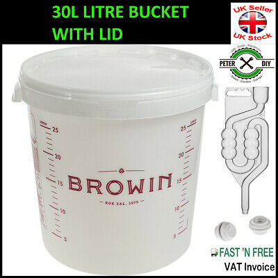 £19.47 • Buy 30L Litre FERMENTATION BUCKET CONTAINER AIRLOCK Home Brew Beer Wine Making