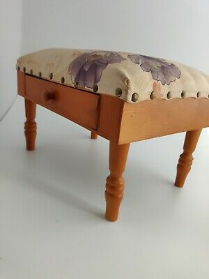 £14.99 • Buy Vintage Foot Stool With Drawer. Sewing Box ? Upholstered Top. Very Cute
