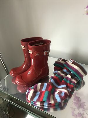 £9.99 • Buy Hunter Wellington Boots Red Infant Size 9  U.K. With Socks Great Condition
