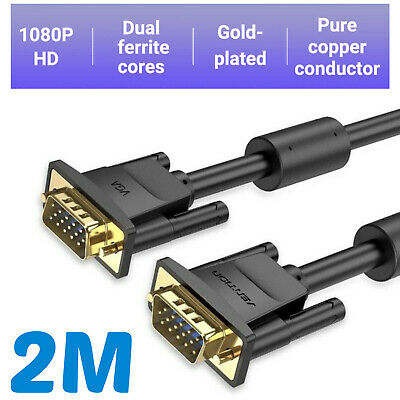 £4.49 • Buy 2m - Premium VGA To VGA (Male To Male) Cable/Lead - LCD Monitor TV Projector