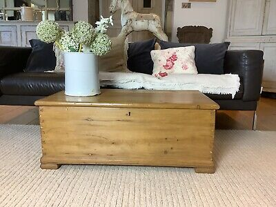 £210 • Buy Old Antique Pine Wooden Blanket Chest, Trunk, Coffee Table, Storage Vintage Box