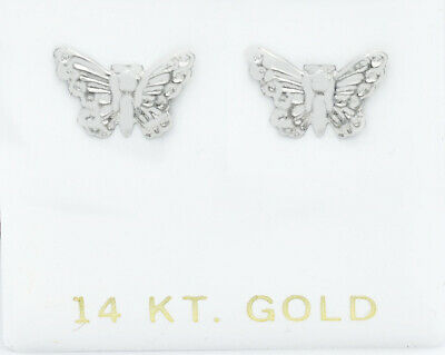 £3.48 • Buy Butterfly Stud Earrings Solid 14k White Gold ** Made In Usa **