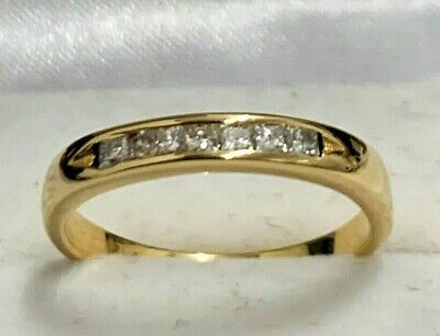 AU399 • Buy Gorgeous!! 18K Yellow Gold & 0.20ct TW Genuine Diamonds Channel Ring 750 18CT