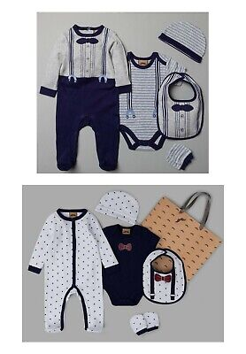 £13.99 • Buy Baby Boy Layette Gift Bag Set Newborn 0 3 Months Gent Outfit Starter Clothes NEW