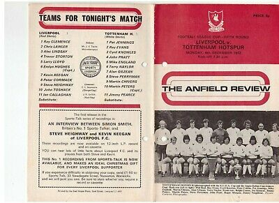 £0.10 • Buy Liverpool V Tottenham Hotspur League Cup 5th Round 4 December 1972