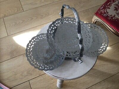 £12.80 • Buy Vintage Folding Cake Stand  Silver Metal Good Condition, 3 Layers