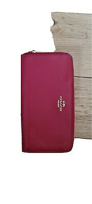 £23.50 • Buy Coach New York Smooth Slim Accordion Women's Full Zip Purse Wallet - Red Leather