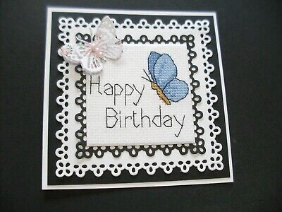 £1.75 • Buy  Hand Made Completed Cross Stitch  Cards Butterfly Happy Birthday