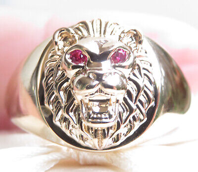 AU275 • Buy Genuine Men's Ring In 9K Yellow Gold With Tiger Feature And Ruby Eyes