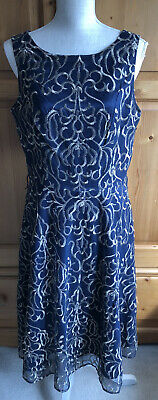£4.99 • Buy Jessica Howard Ladies Navy Blue Evening Dress With Gold Stitching Size 16