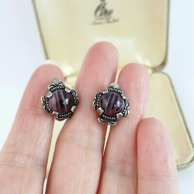 £9.99 • Buy Vintage Miracle Signed Banded Amethyst Glass Silver Tone Clip On Earrings