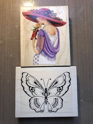 £8.95 • Buy 2 X Extra Large Rubber Stamps (Butterfly & Lady)
