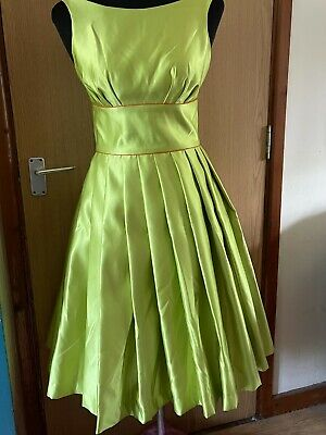 £5 • Buy Dig For Victory Lime Green Taffeta Swing Dress With Orange Petticoat Size 8