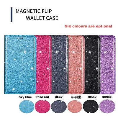 AU16.89 • Buy Glitter Flip Holder Card Wallet Stand With Strap PU Leather Case Cover For Phone