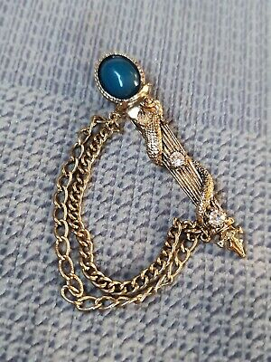 £1.99 • Buy Miracle Blue Glass Faux Agate Stone Serpent  Brooch Pin Vintage Golden Colour.