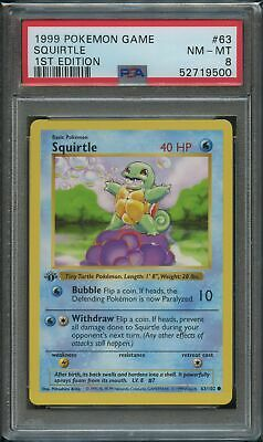 $150 • Buy Pokemon 1st Edition Squirtle PSA 8 NM-Mint 63/102 1st Edition Base