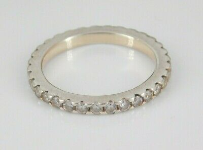 £8.71 • Buy 925 Sterling Silver CZ Eternity Band Ring Size 7.75