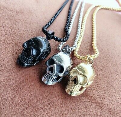 £3.99 • Buy Men Silver Gothic Skull Necklace Stainless Steel Chain Pendant Retro Bikers Gift