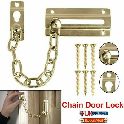 £2.89 • Buy CHAIN BRASS FRONT DOOR RESTRICTOR Lock Latch Slide Catch Extra Security Safety