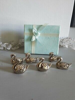£20 • Buy Six Vintage French Dining Swan Table Place Setting Name Holders Party Wedding