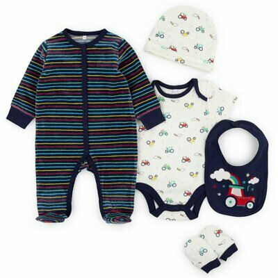 £12.99 • Buy Baby Boy Tractor Velour Layette Clothing 5 Pc Gift Set Starter Outfit NB 0 3 6 M