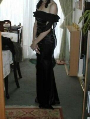 £10 • Buy Black Satin Floor Length Dress With Lace Up Back. Laughing Vampire Size 8