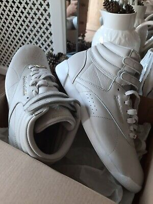 £18.99 • Buy Womens Reebok Classic Freestyle Hi Trainers In Stone Size 6 Worn Once