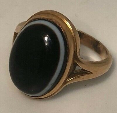 £190 • Buy A Victorian Rose Gold Coloured Metal And Banded Agate Ring Cabochon Stone Size M