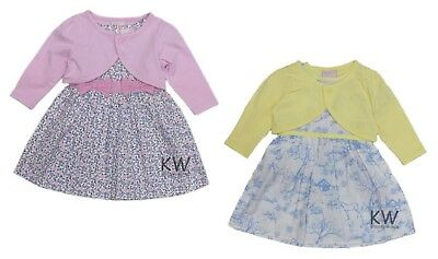£10.95 • Buy Baby Girl Party Dress & Cardigan Set Ages 6-24 M Floral Outfit Shrug Classic NEW
