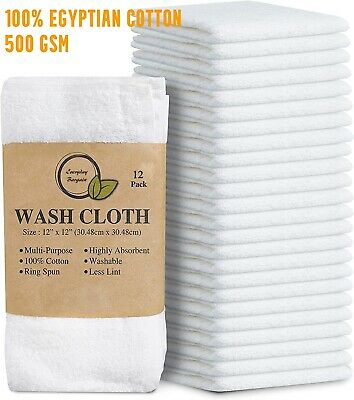 £6.40 • Buy 100x Super Soft 100% Egyptian Cotton Face Towels Flannel Wash Cloths 500 GSM