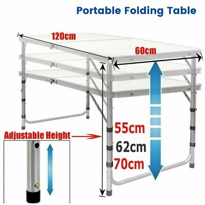 £28.99 • Buy Adjustable Height Portable Folding Camping Picnic BBQ Party Table Aluminium 4FT