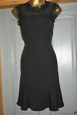 AU23.52 • Buy Monsoon Black Embroidered Fishtale Formal Occasion Wedding Party Dress Size 14