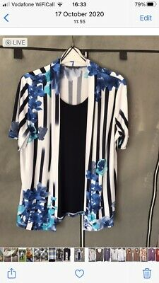 £3 • Buy Forever By Michael Gold White/blue Cardi Top Reduced
